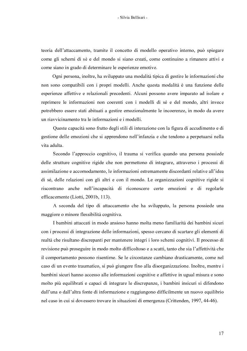 Anteprima della tesi: La flessibilità nel concetto di sé e del mondo come alternativa al disturbo da stress post-traumatico secondo la teoria cognitivo-comportamentale, Pagina 16