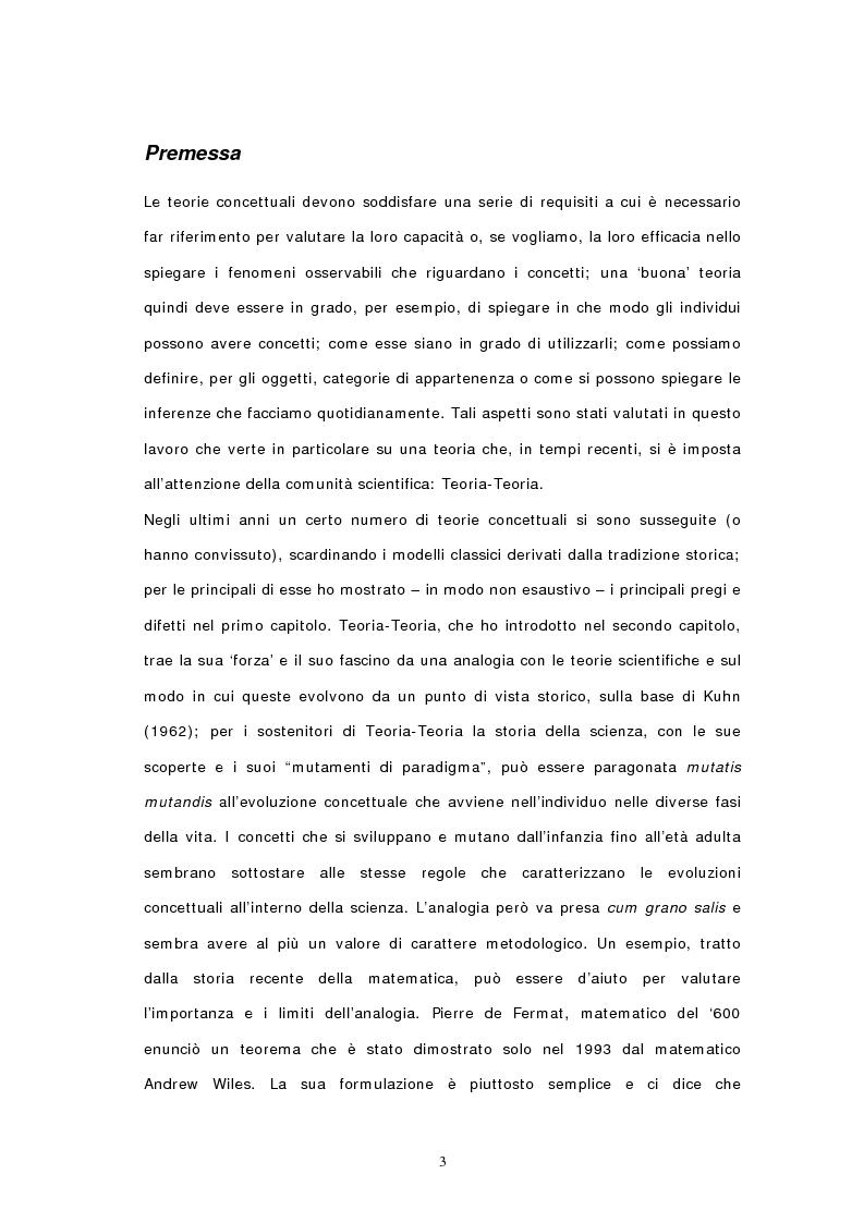 Anteprima della tesi: Concetti, similarità e teoria: verso il modello ibrido, Pagina 1