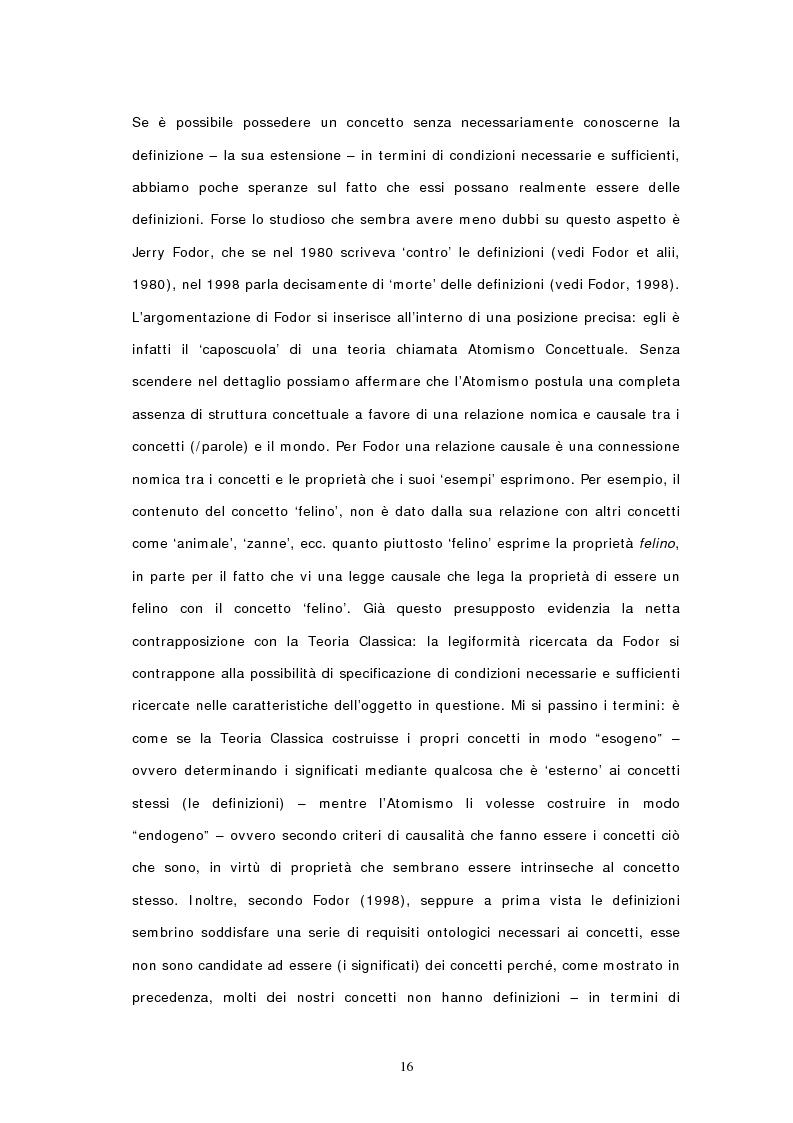 Anteprima della tesi: Concetti, similarità e teoria: verso il modello ibrido, Pagina 14
