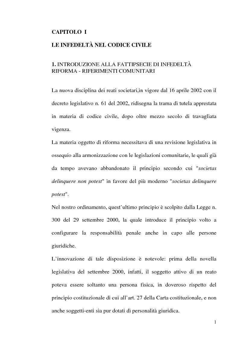 Anteprima della tesi: Le fattispecie di Infedeltà, Pagina 1