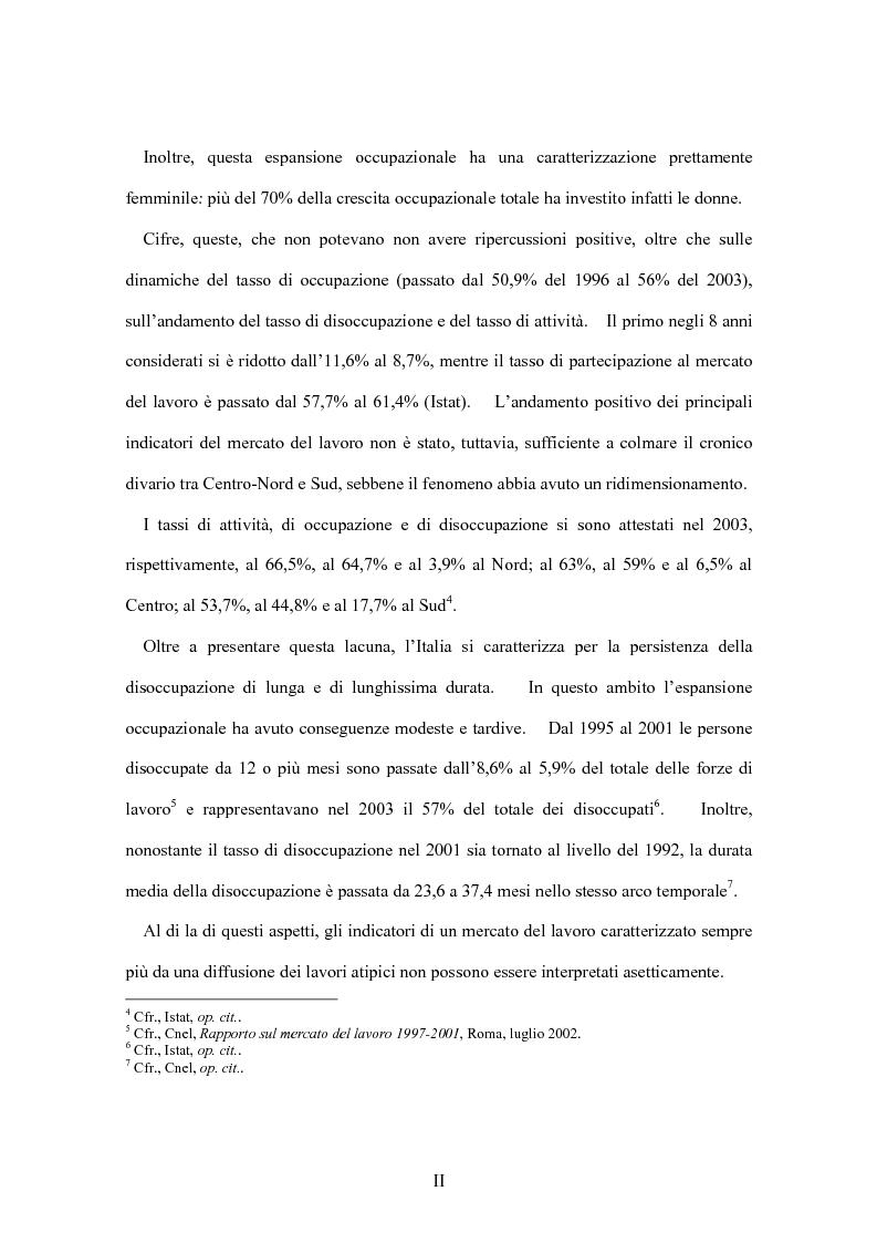 Anteprima della tesi: La flessibilità del mercato del lavoro italiano. Profili giuridici ed effetti socio-economici., Pagina 2