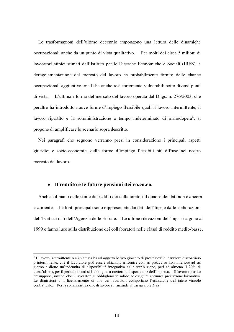 Anteprima della tesi: La flessibilità del mercato del lavoro italiano. Profili giuridici ed effetti socio-economici., Pagina 3