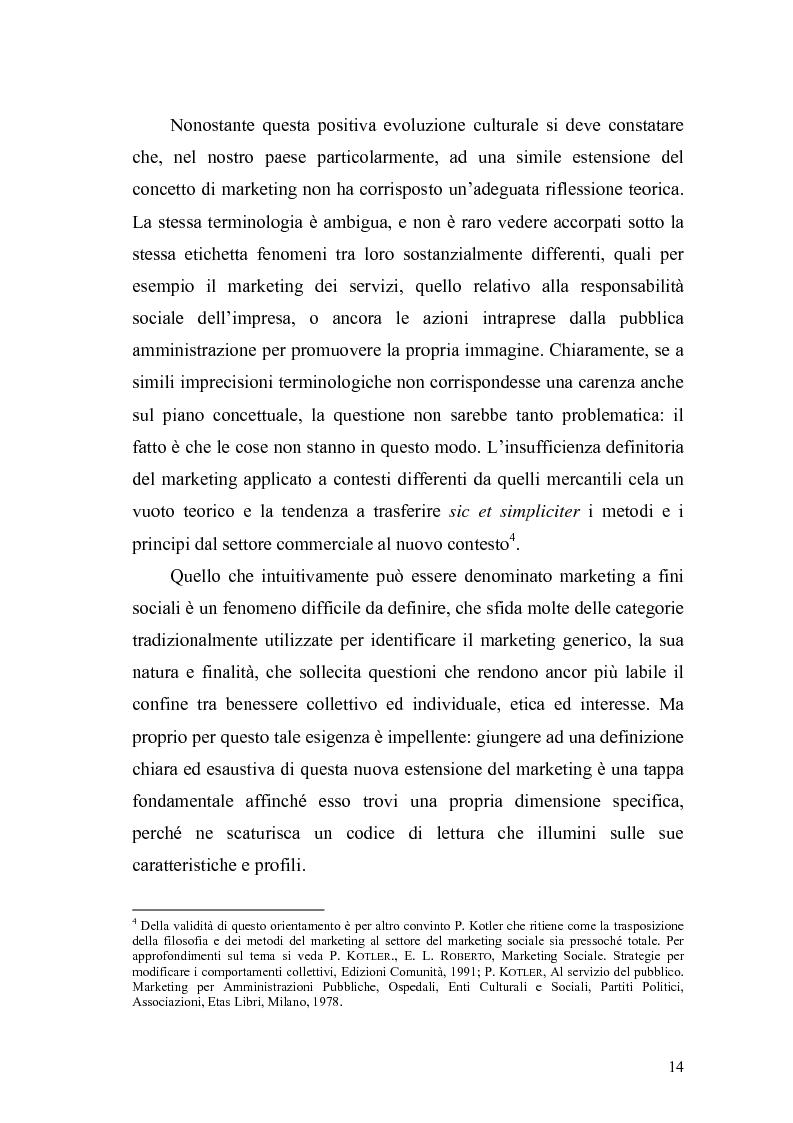Anteprima della tesi: Il marketing sociale. Una nuova prospettiva a chi lavora per un mondo migliore, Pagina 14