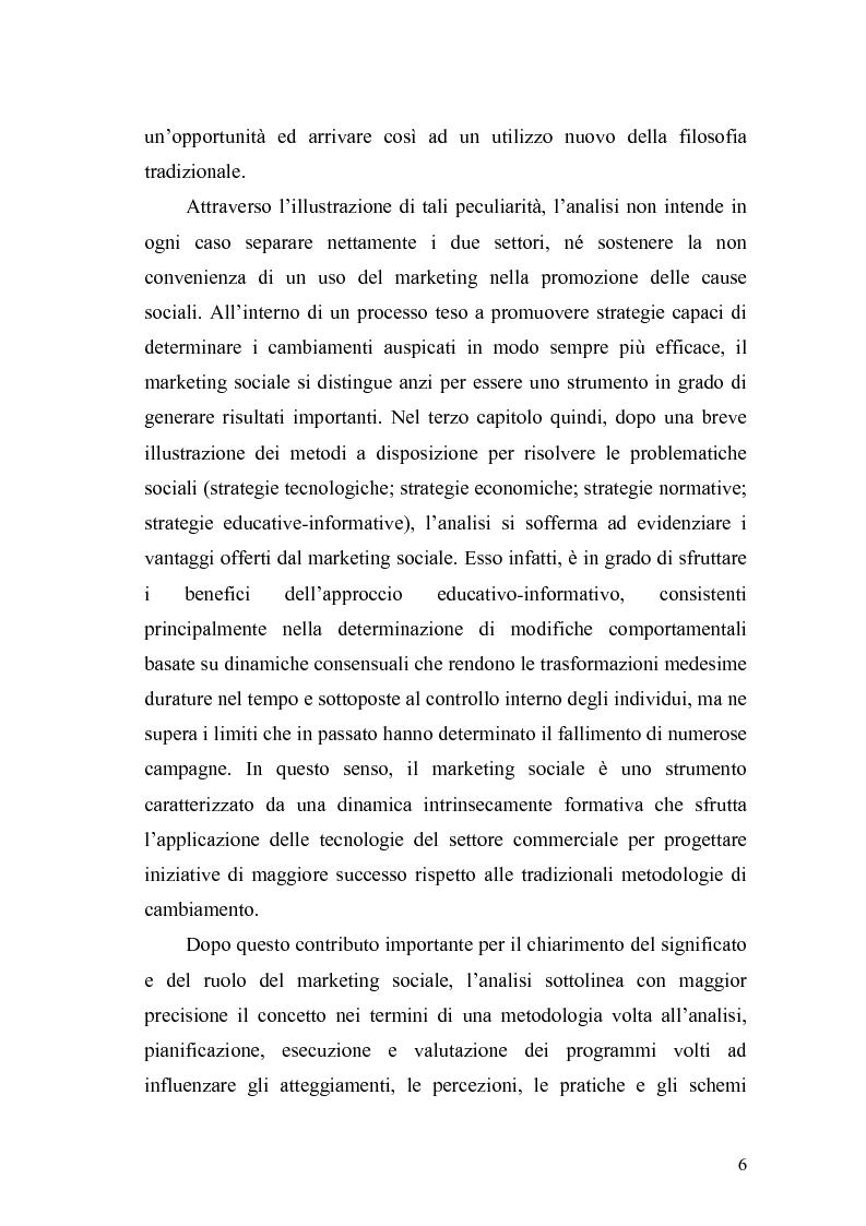 Anteprima della tesi: Il marketing sociale. Una nuova prospettiva a chi lavora per un mondo migliore, Pagina 6