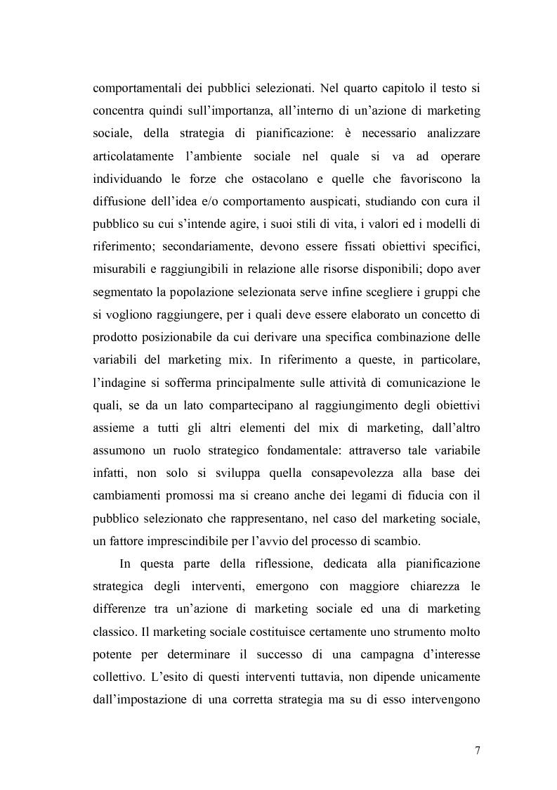 Anteprima della tesi: Il marketing sociale. Una nuova prospettiva a chi lavora per un mondo migliore, Pagina 7