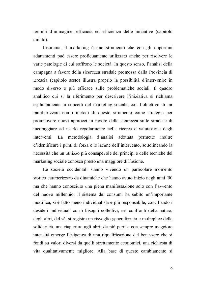 Anteprima della tesi: Il marketing sociale. Una nuova prospettiva a chi lavora per un mondo migliore, Pagina 9