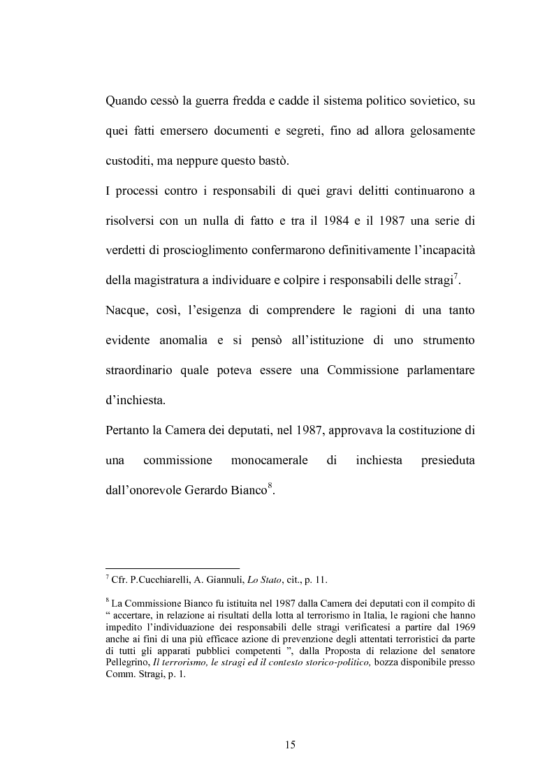 Anteprima della tesi: La Commissione Parlamentare d'inchiesta sul terrorismo in Italia e sulle cause della mancata individuazione dei responsabili delle stragi, Pagina 13