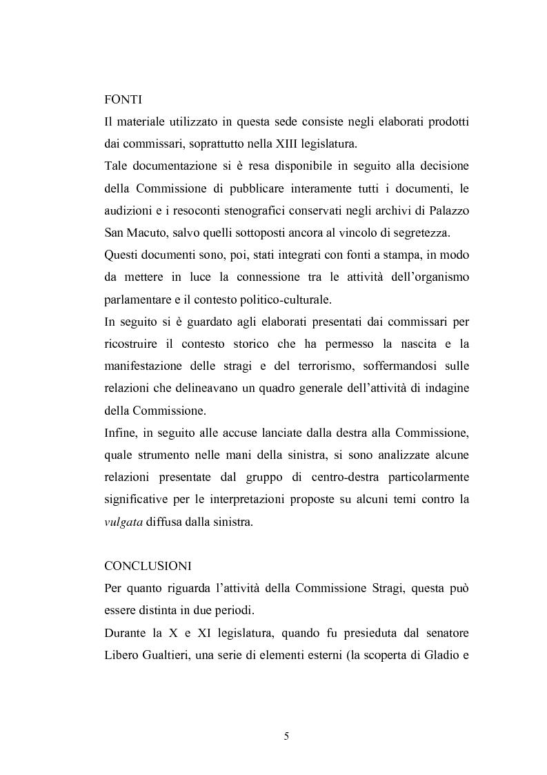 Anteprima della tesi: La Commissione Parlamentare d'inchiesta sul terrorismo in Italia e sulle cause della mancata individuazione dei responsabili delle stragi, Pagina 3