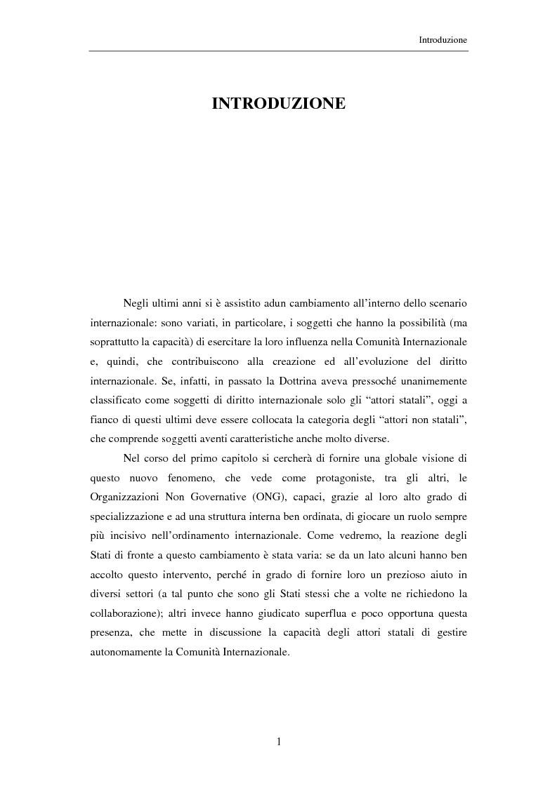 Anteprima della tesi: Il ruolo delle Organizzazioni Non Governative nel sistema del Tribunale Penale Internazionale per i crimini commessi nel territorio dell'ex Jugoslavia, Pagina 1