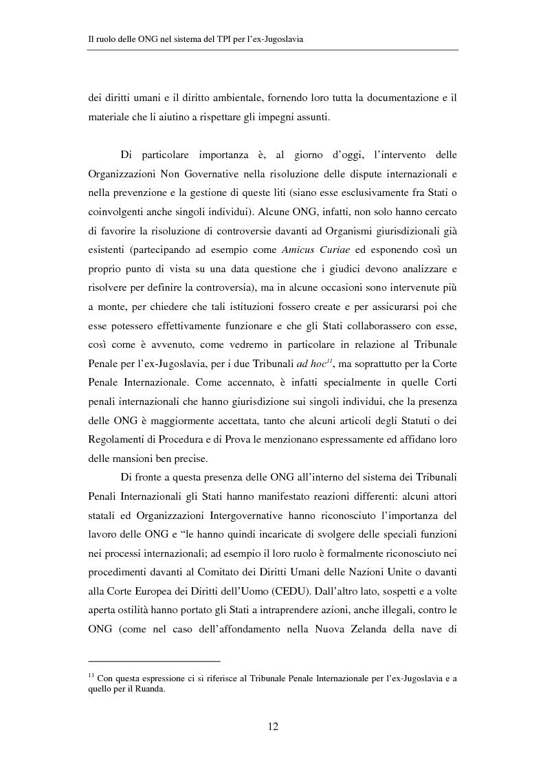 Anteprima della tesi: Il ruolo delle Organizzazioni Non Governative nel sistema del Tribunale Penale Internazionale per i crimini commessi nel territorio dell'ex Jugoslavia, Pagina 12