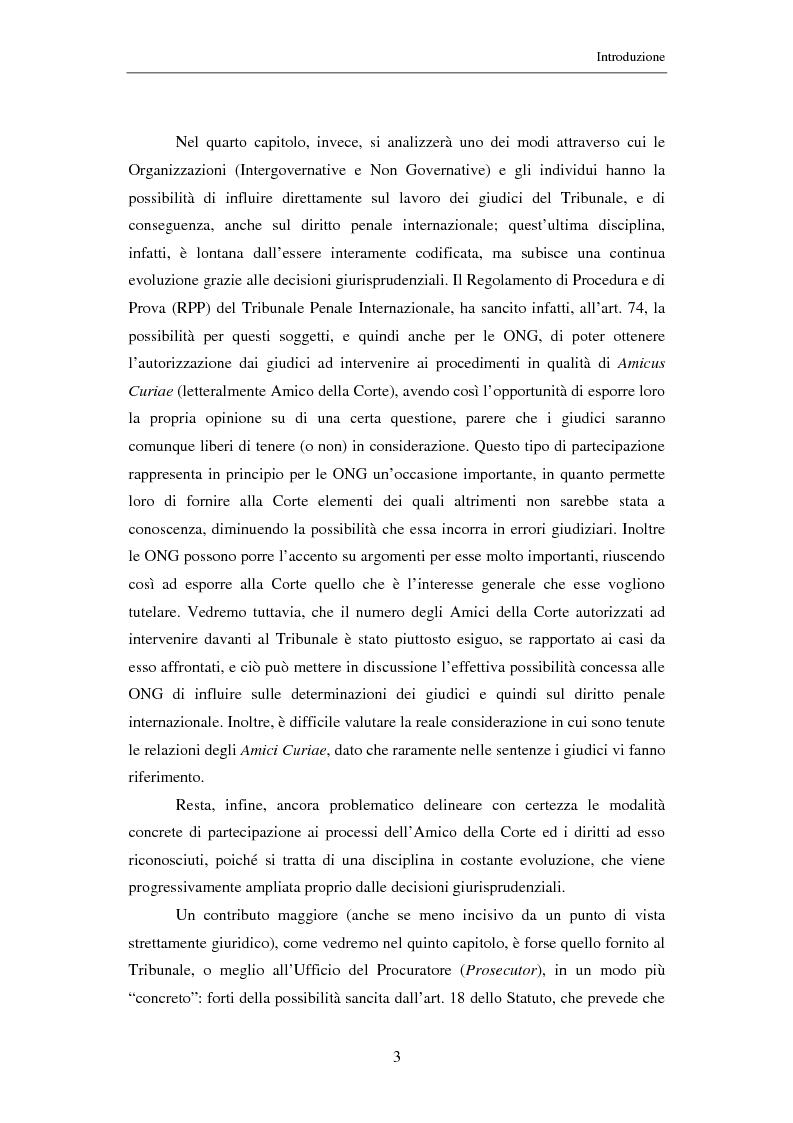 Anteprima della tesi: Il ruolo delle Organizzazioni Non Governative nel sistema del Tribunale Penale Internazionale per i crimini commessi nel territorio dell'ex Jugoslavia, Pagina 3