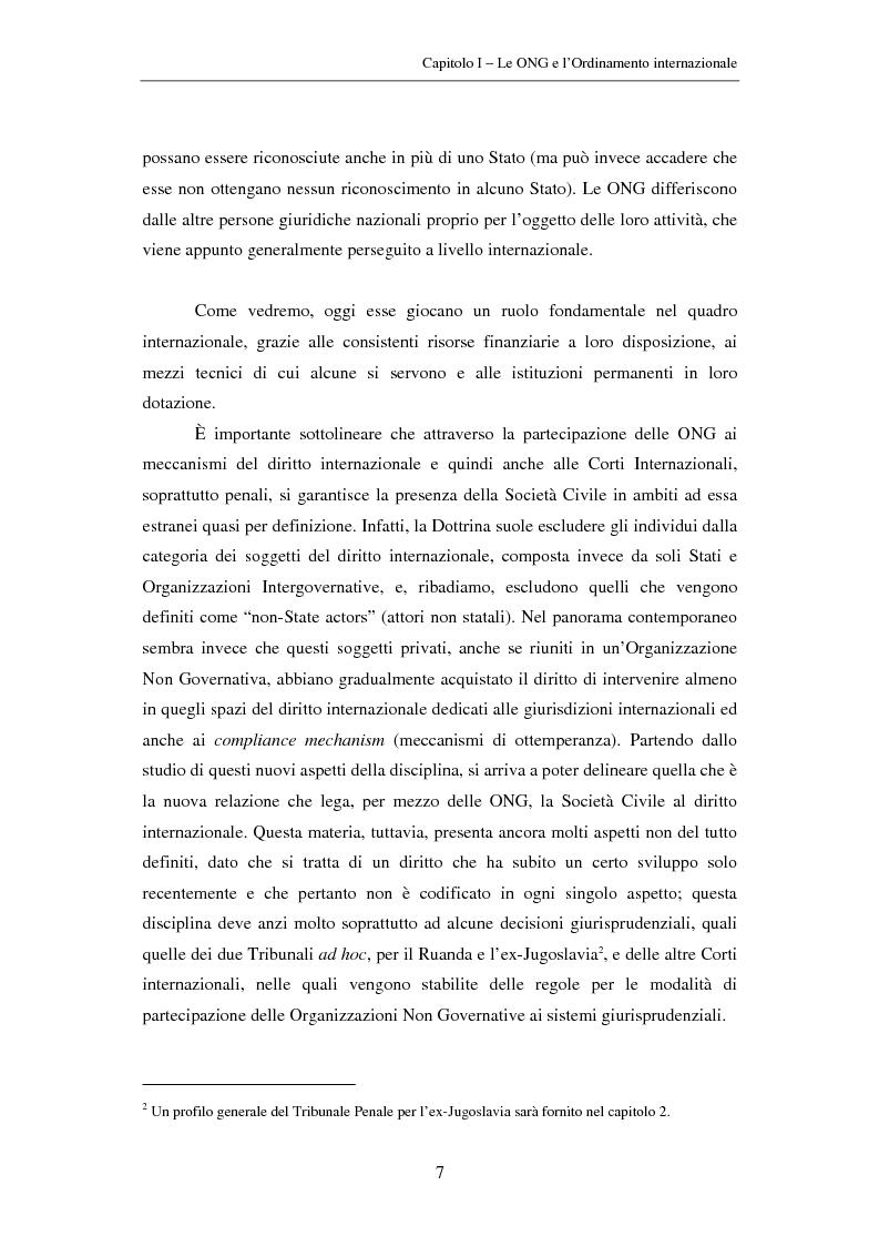 Anteprima della tesi: Il ruolo delle Organizzazioni Non Governative nel sistema del Tribunale Penale Internazionale per i crimini commessi nel territorio dell'ex Jugoslavia, Pagina 7