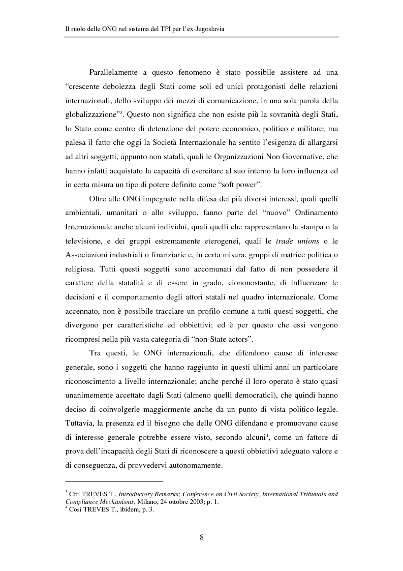 Anteprima della tesi: Il ruolo delle Organizzazioni Non Governative nel sistema del Tribunale Penale Internazionale per i crimini commessi nel territorio dell'ex Jugoslavia, Pagina 8