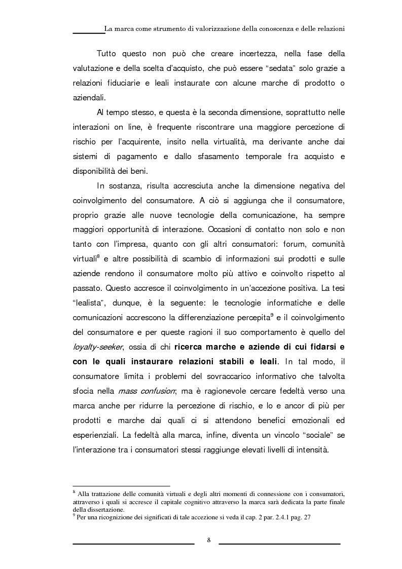 Anteprima della tesi: La marca come strumento di valorizzazione della conoscenza e delle relazioni, Pagina 14