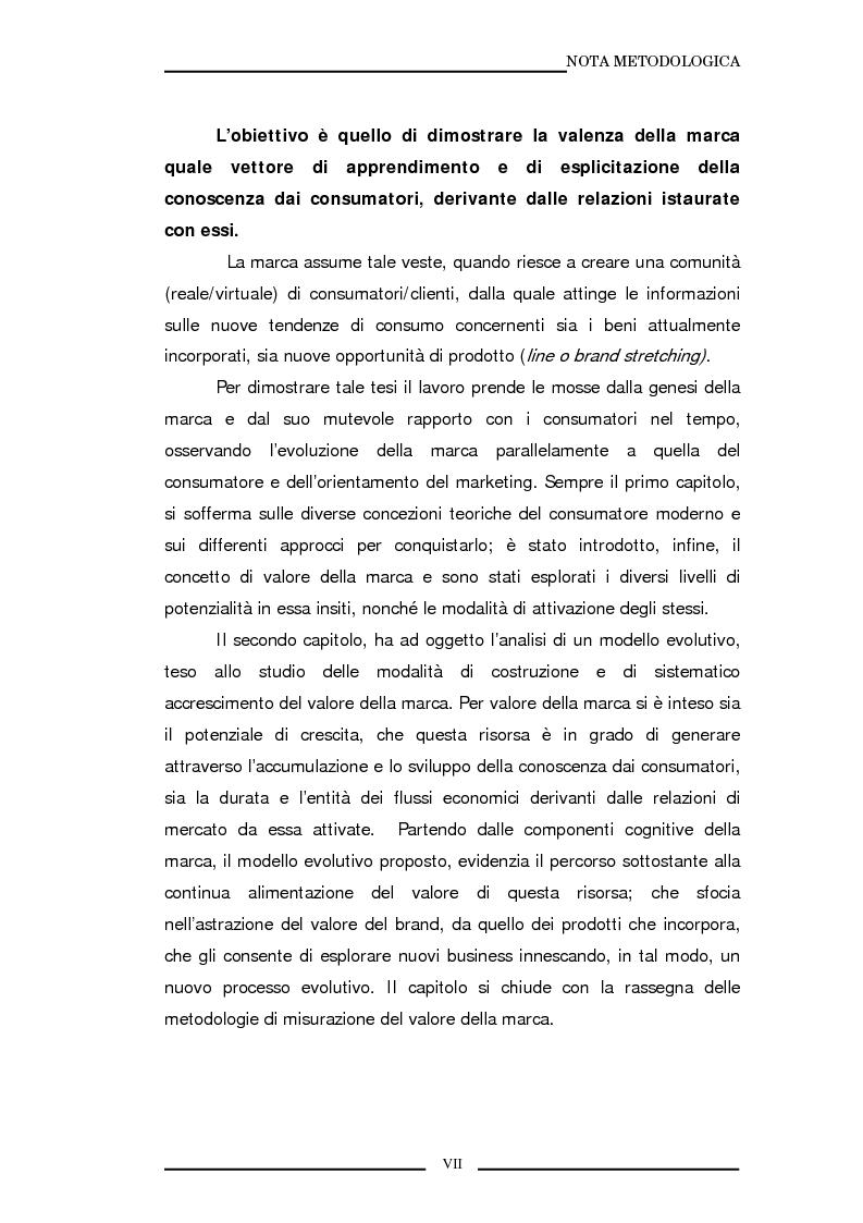 Anteprima della tesi: La marca come strumento di valorizzazione della conoscenza e delle relazioni, Pagina 4