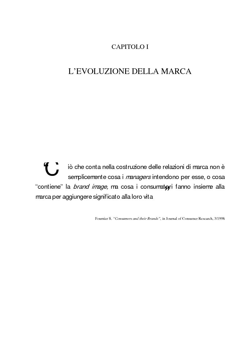 Anteprima della tesi: La marca come strumento di valorizzazione della conoscenza e delle relazioni, Pagina 7