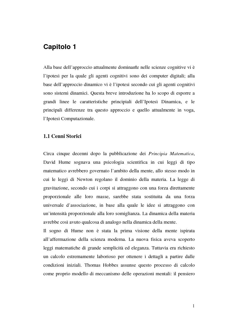 Anteprima della tesi: Agenti cognitivi incorporati. La prospettiva dei sistemi dinamici, Pagina 1
