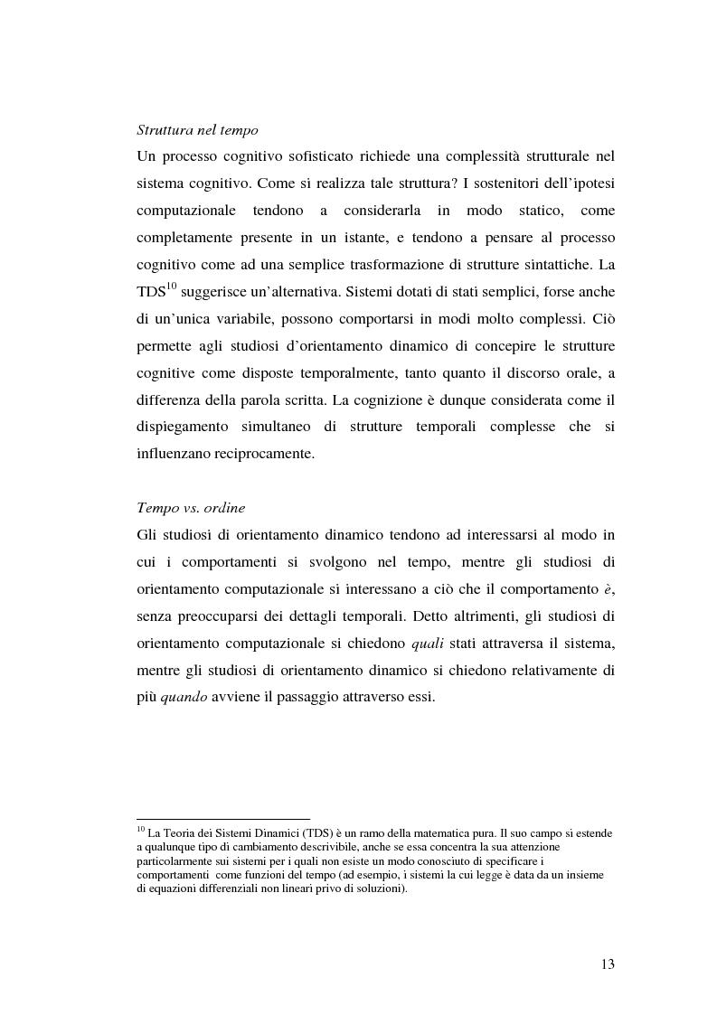 Anteprima della tesi: Agenti cognitivi incorporati. La prospettiva dei sistemi dinamici, Pagina 13