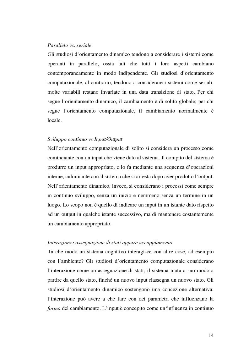 Anteprima della tesi: Agenti cognitivi incorporati. La prospettiva dei sistemi dinamici, Pagina 14