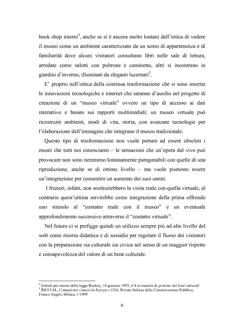 Anteprima della tesi: La promozione della cultura museale on line, Pagina 2