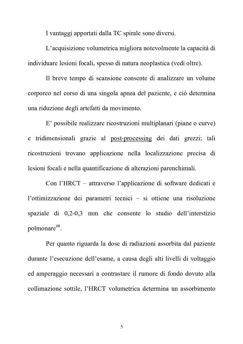 Anteprima della tesi: TC spirale ad alta risoluzione nello studio del parenchima polmonare, Pagina 5