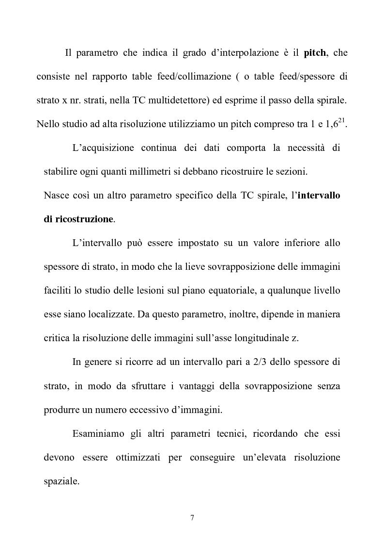 Anteprima della tesi: TC spirale ad alta risoluzione nello studio del parenchima polmonare, Pagina 7