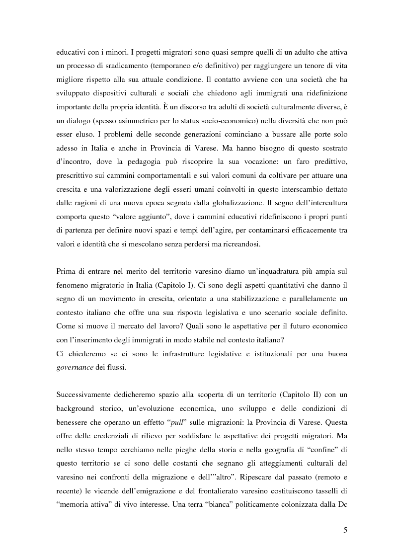 Anteprima della tesi: Politiche dell'immigrazione, modelli d'integrazione e prospettive interculturali in Provincia di Varese, Pagina 2