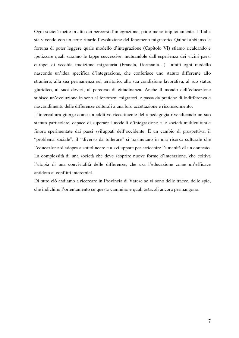 Anteprima della tesi: Politiche dell'immigrazione, modelli d'integrazione e prospettive interculturali in Provincia di Varese, Pagina 4