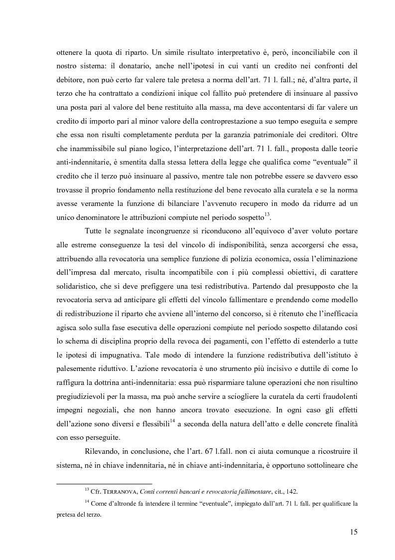 Anteprima della tesi: Orientamenti giurisprudenziali in tema di revocatoria fallimentare delle rimesse bancarie, Pagina 11