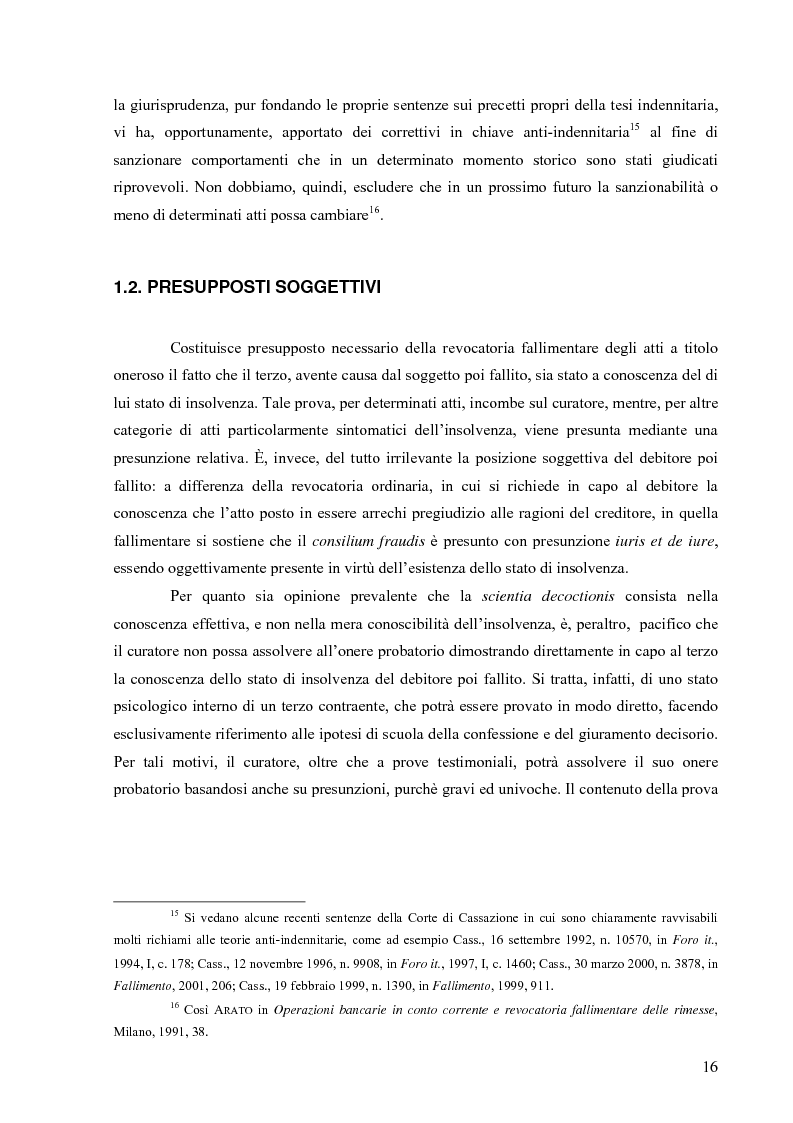 Anteprima della tesi: Orientamenti giurisprudenziali in tema di revocatoria fallimentare delle rimesse bancarie, Pagina 12