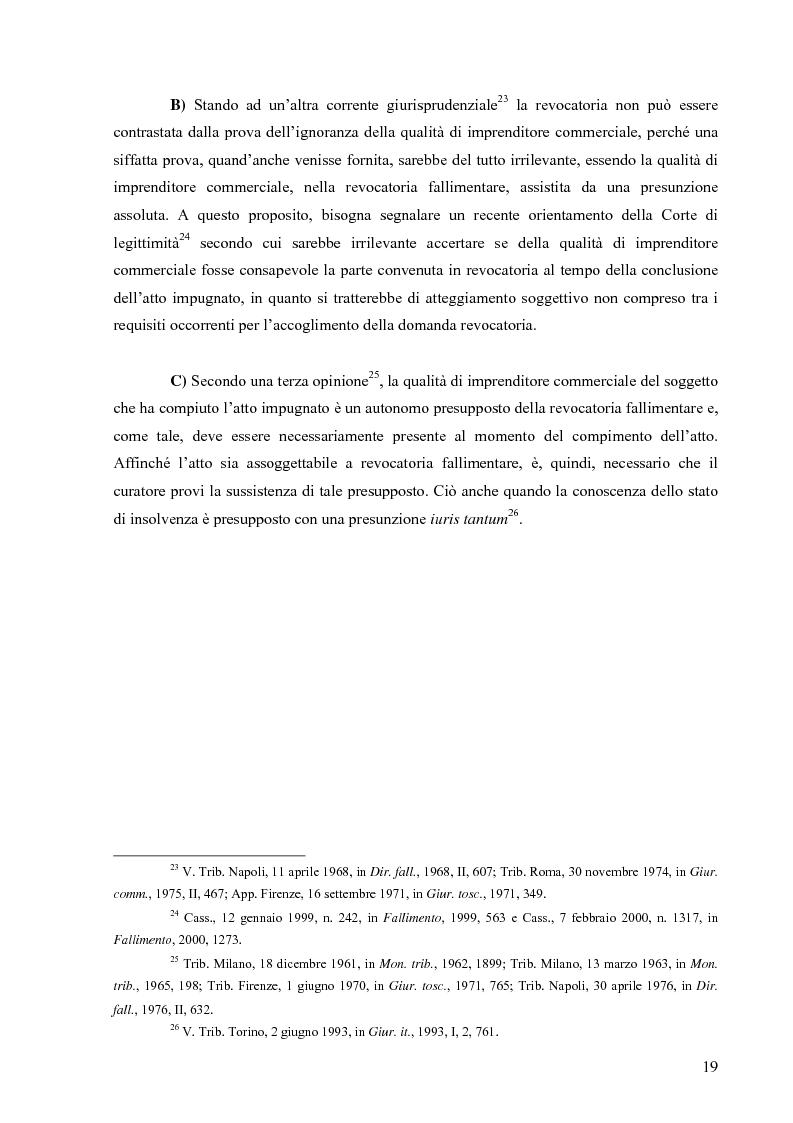 Anteprima della tesi: Orientamenti giurisprudenziali in tema di revocatoria fallimentare delle rimesse bancarie, Pagina 15