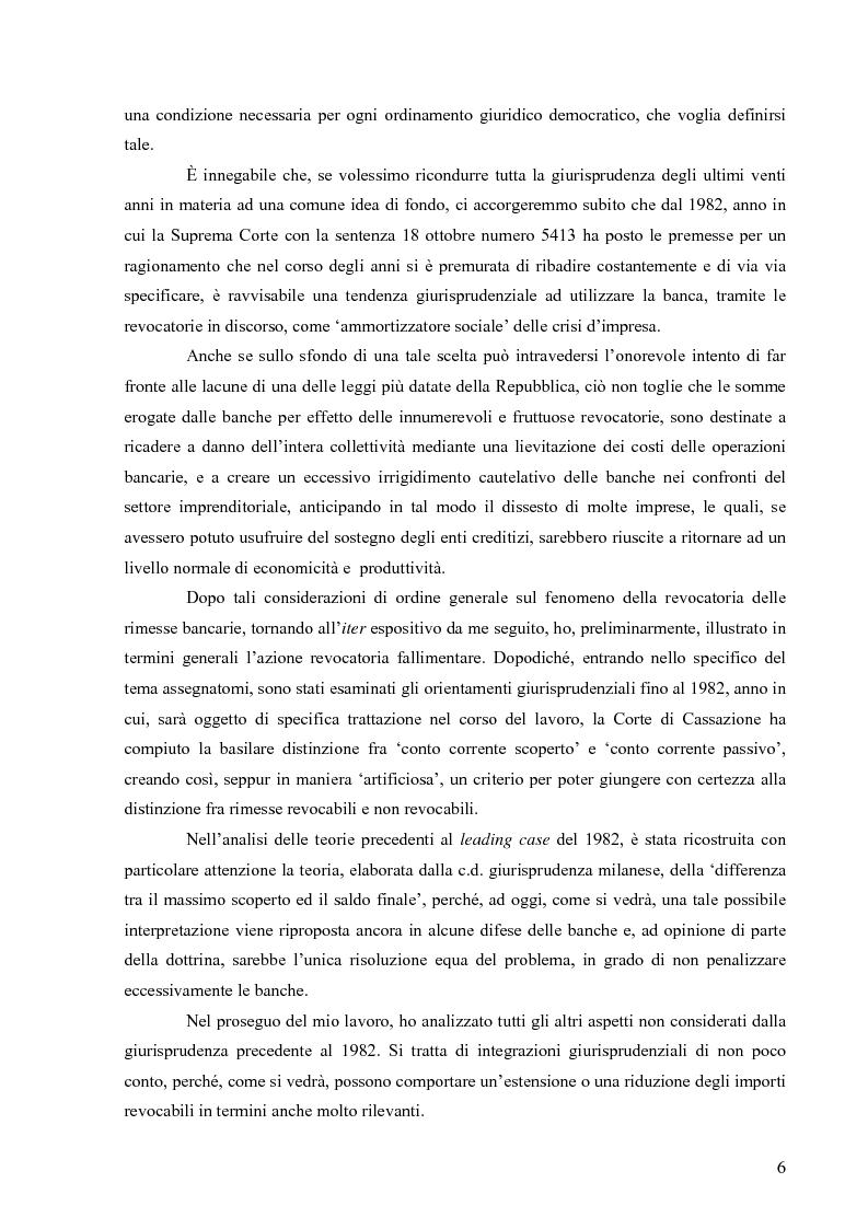 Anteprima della tesi: Orientamenti giurisprudenziali in tema di revocatoria fallimentare delle rimesse bancarie, Pagina 2