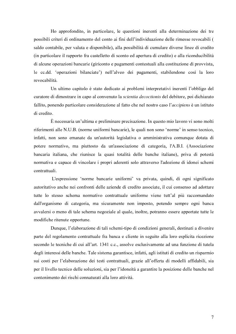 Anteprima della tesi: Orientamenti giurisprudenziali in tema di revocatoria fallimentare delle rimesse bancarie, Pagina 3