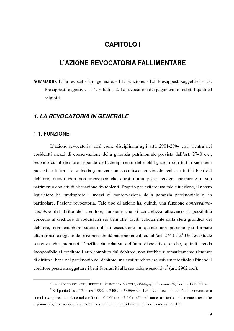 Anteprima della tesi: Orientamenti giurisprudenziali in tema di revocatoria fallimentare delle rimesse bancarie, Pagina 5