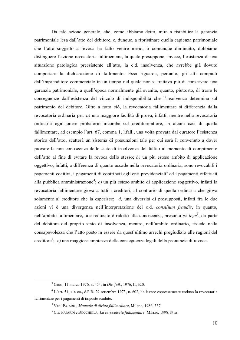 Anteprima della tesi: Orientamenti giurisprudenziali in tema di revocatoria fallimentare delle rimesse bancarie, Pagina 6