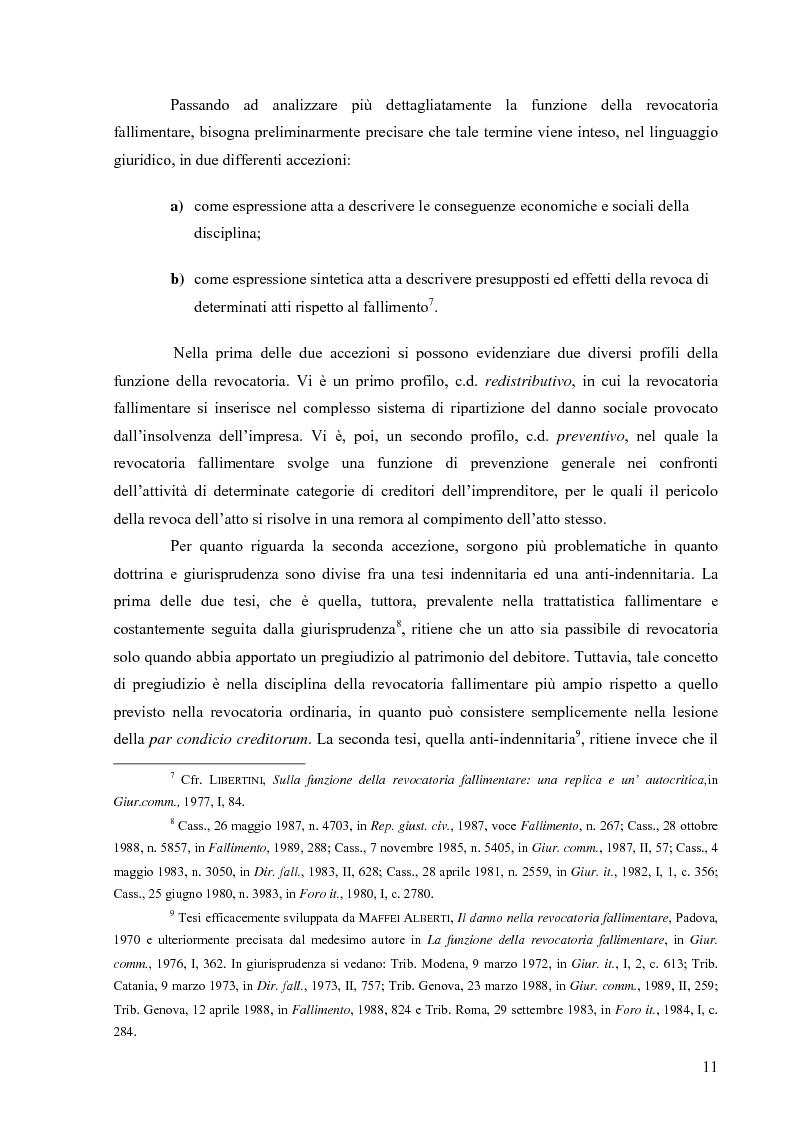 Anteprima della tesi: Orientamenti giurisprudenziali in tema di revocatoria fallimentare delle rimesse bancarie, Pagina 7