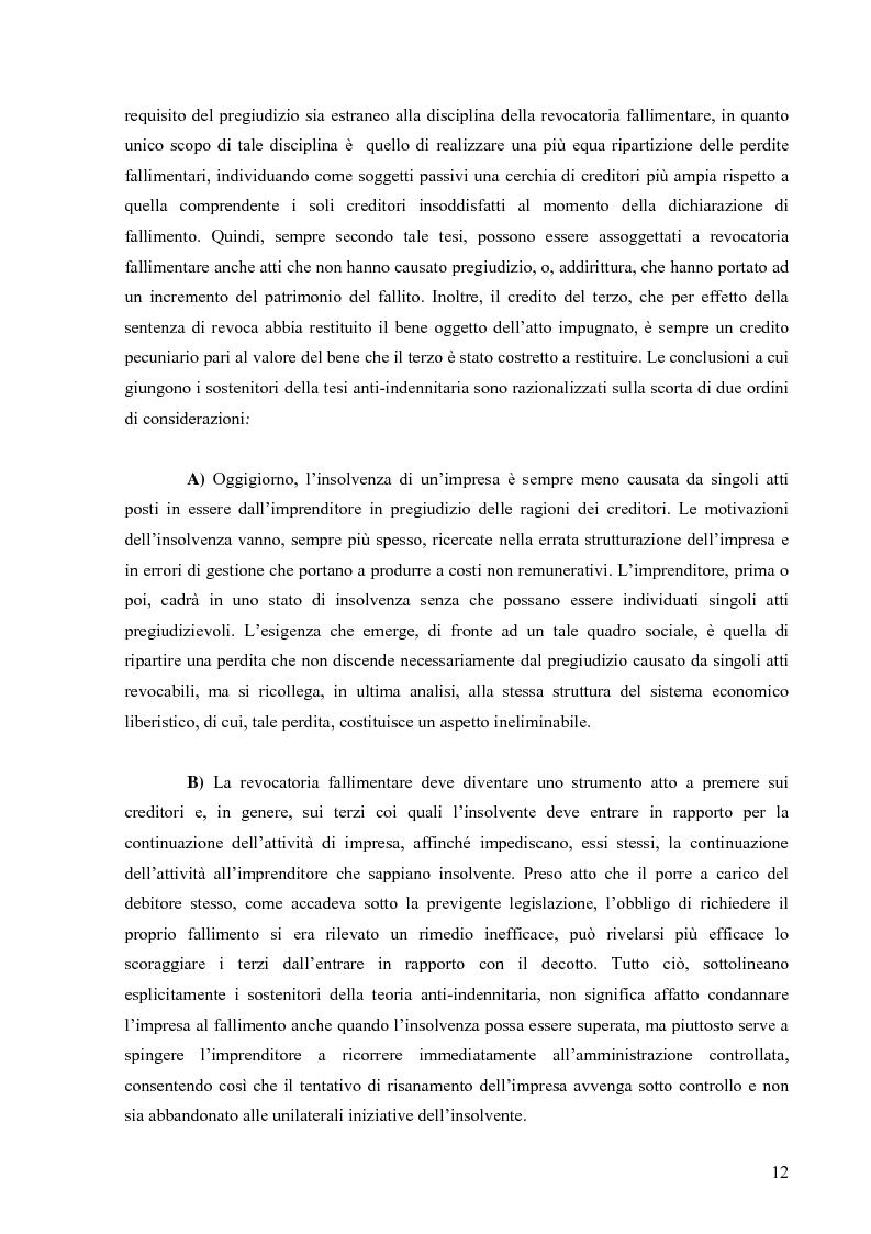 Anteprima della tesi: Orientamenti giurisprudenziali in tema di revocatoria fallimentare delle rimesse bancarie, Pagina 8