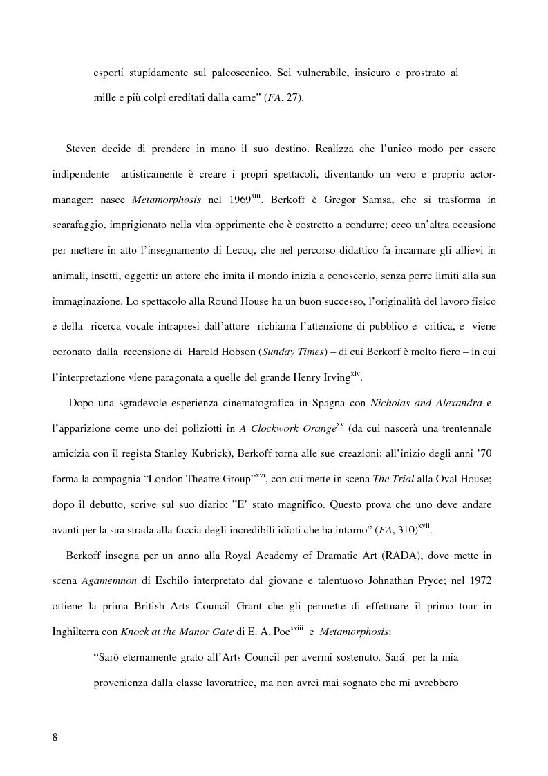 Anteprima della tesi: Ricerca e provocazione come vie della fabbrica teatrale: il percorso artistico di Steven Berkoff, Pagina 10