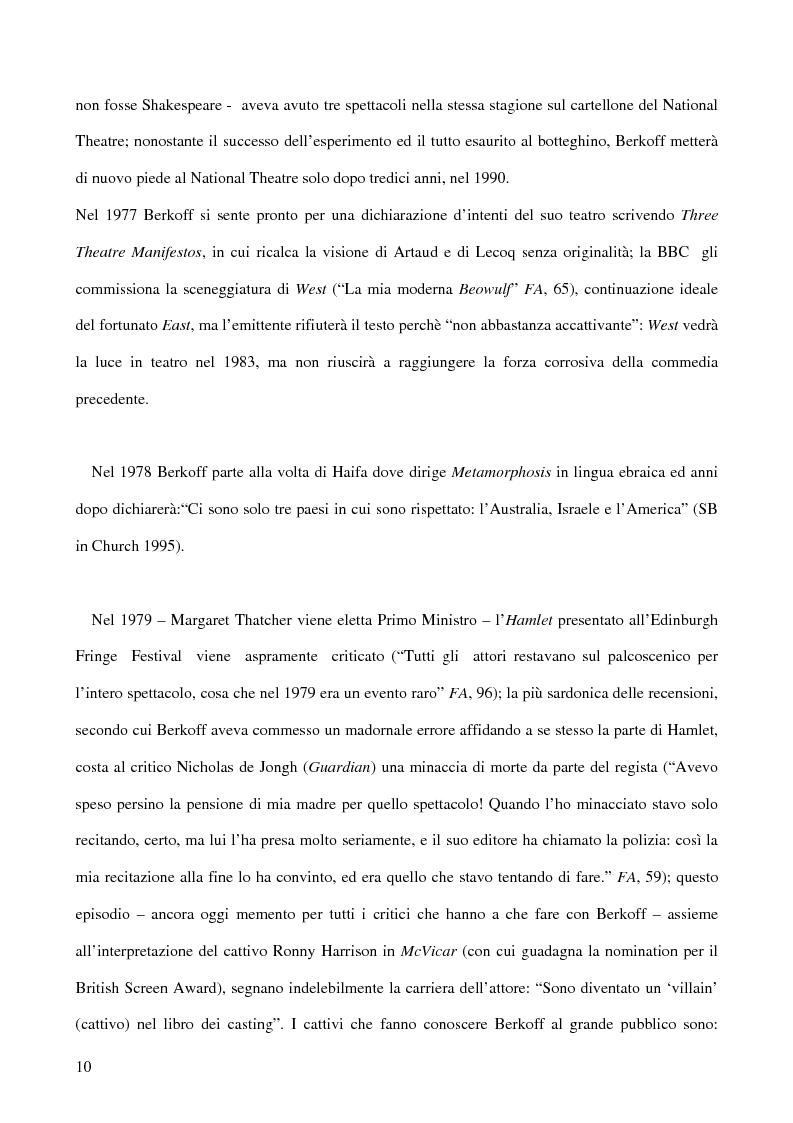 Anteprima della tesi: Ricerca e provocazione come vie della fabbrica teatrale: il percorso artistico di Steven Berkoff, Pagina 12