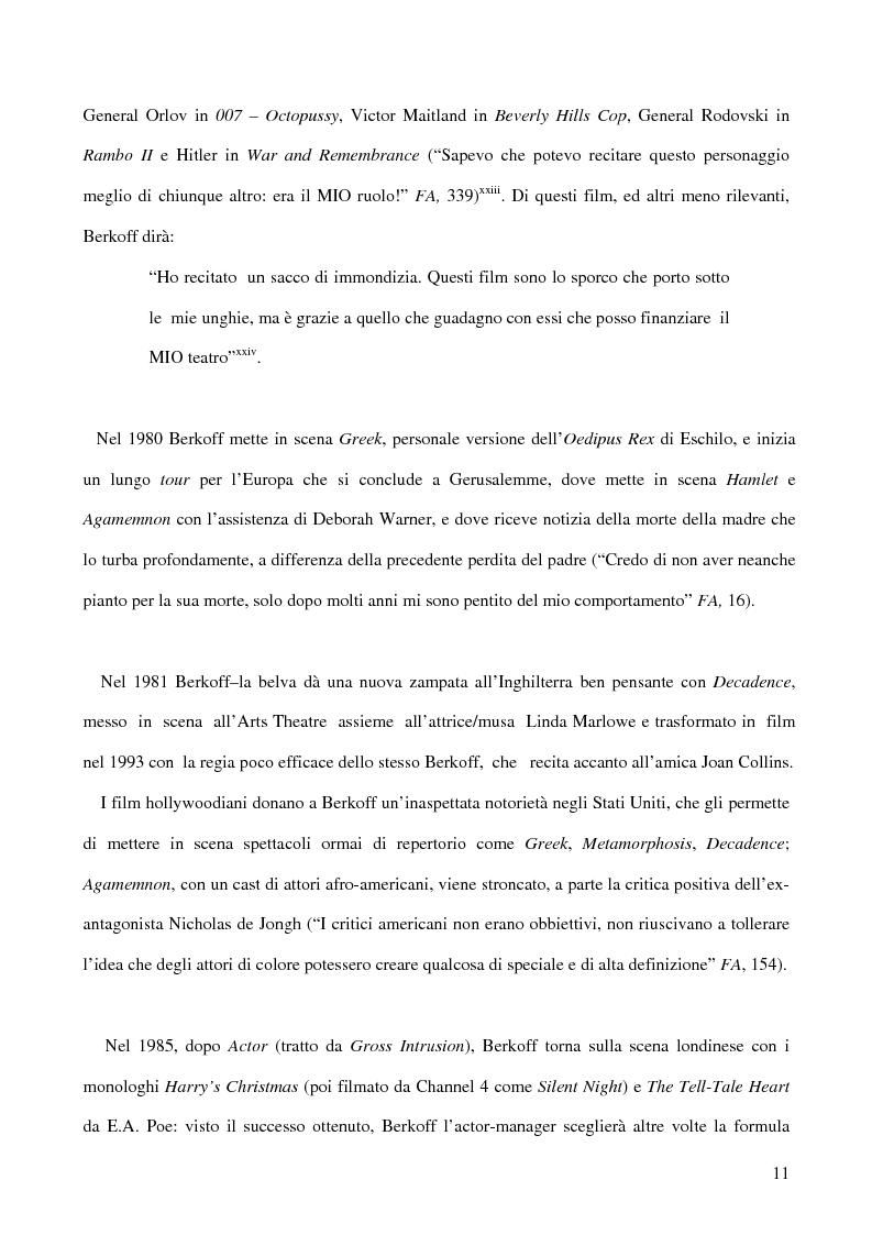 Anteprima della tesi: Ricerca e provocazione come vie della fabbrica teatrale: il percorso artistico di Steven Berkoff, Pagina 13