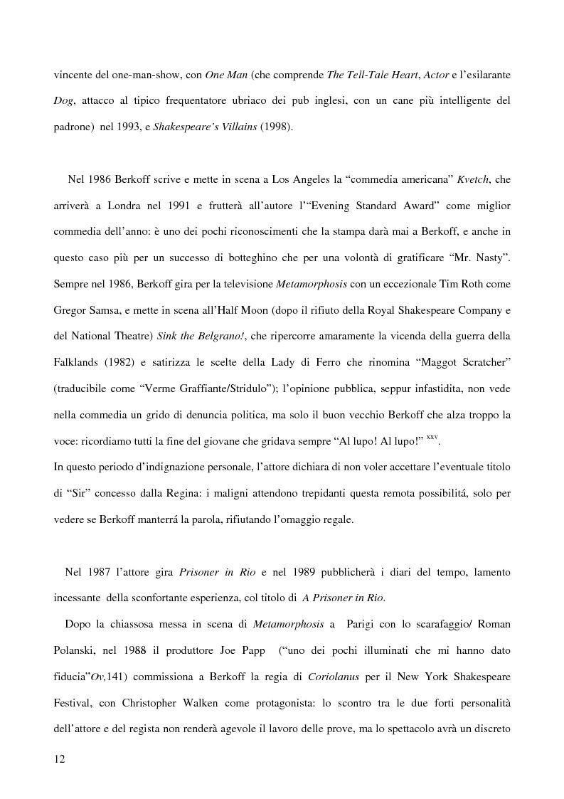 Anteprima della tesi: Ricerca e provocazione come vie della fabbrica teatrale: il percorso artistico di Steven Berkoff, Pagina 14