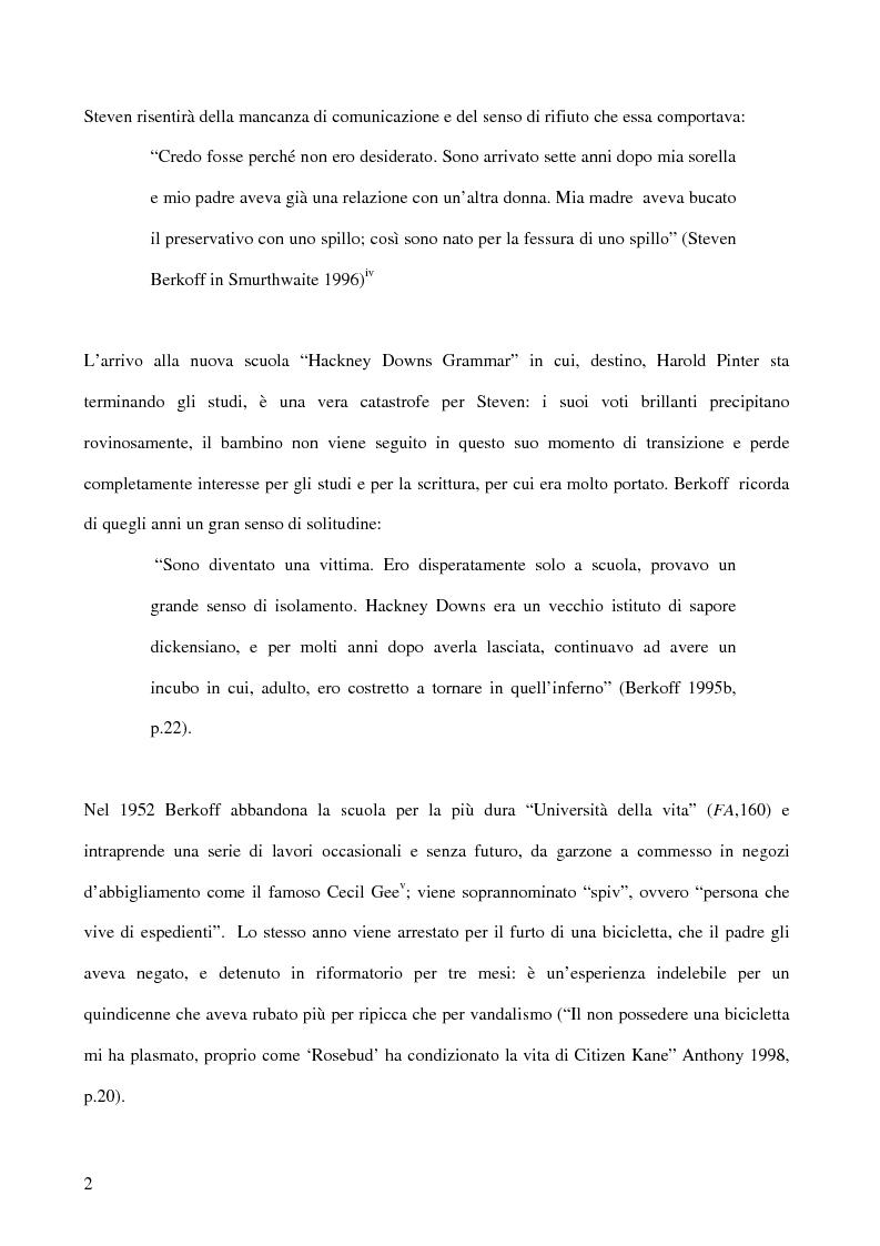 Anteprima della tesi: Ricerca e provocazione come vie della fabbrica teatrale: il percorso artistico di Steven Berkoff, Pagina 4