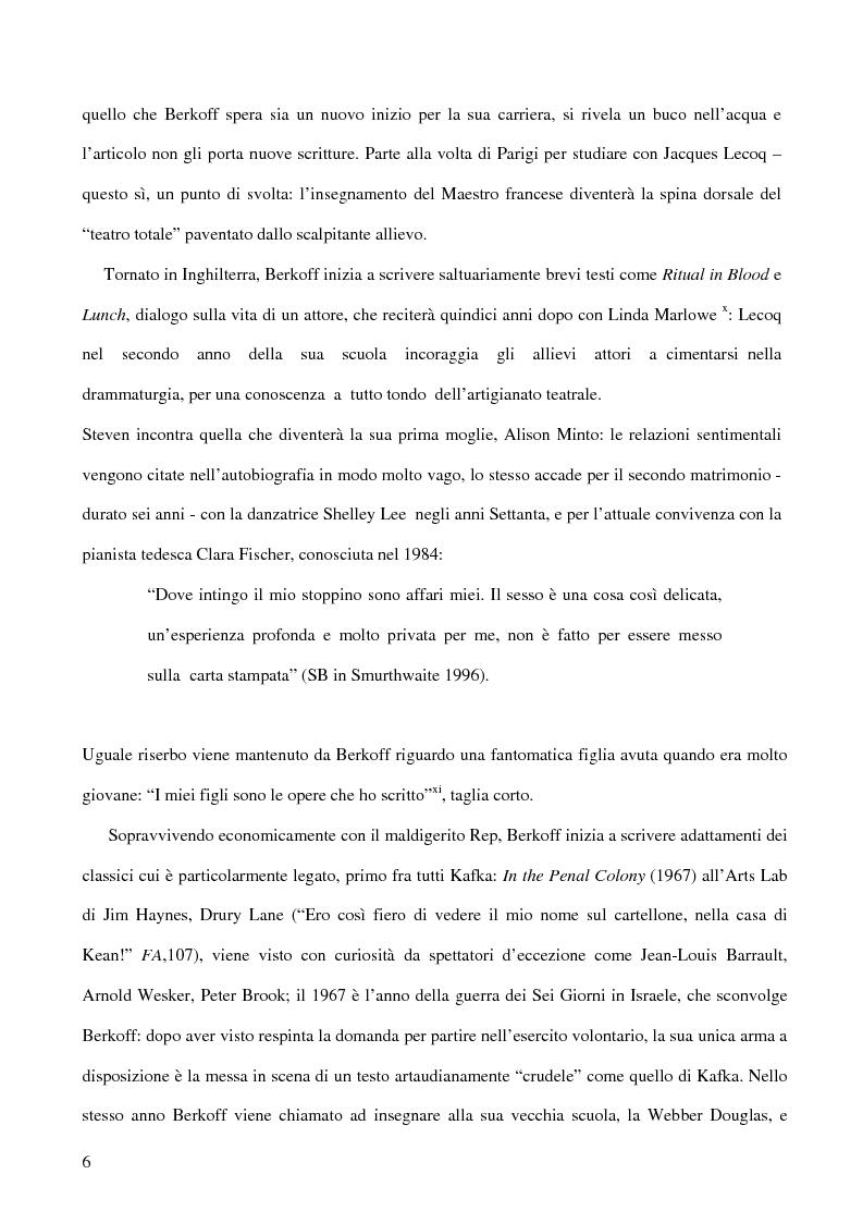 Anteprima della tesi: Ricerca e provocazione come vie della fabbrica teatrale: il percorso artistico di Steven Berkoff, Pagina 8