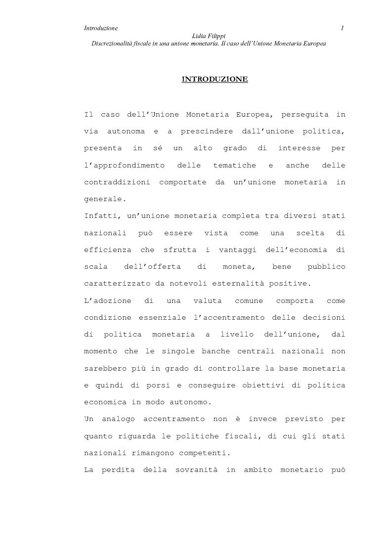 Anteprima della tesi: Discrezionalità fiscale in una unione monetaria. Il caso dell'Unione Monetaria Europea, Pagina 1
