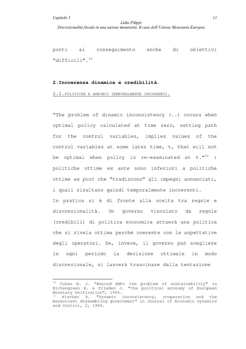 Anteprima della tesi: Discrezionalità fiscale in una unione monetaria. Il caso dell'Unione Monetaria Europea, Pagina 11