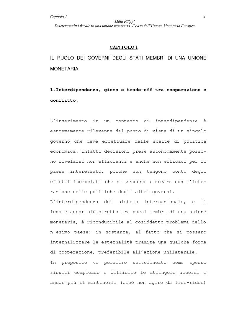 Anteprima della tesi: Discrezionalità fiscale in una unione monetaria. Il caso dell'Unione Monetaria Europea, Pagina 4