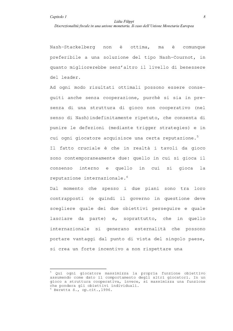 Anteprima della tesi: Discrezionalità fiscale in una unione monetaria. Il caso dell'Unione Monetaria Europea, Pagina 8