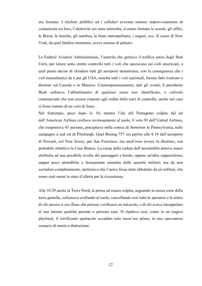 """Anteprima della tesi: 11 Settembre 2001 """"Per non dimenticare"""", Pagina 11"""