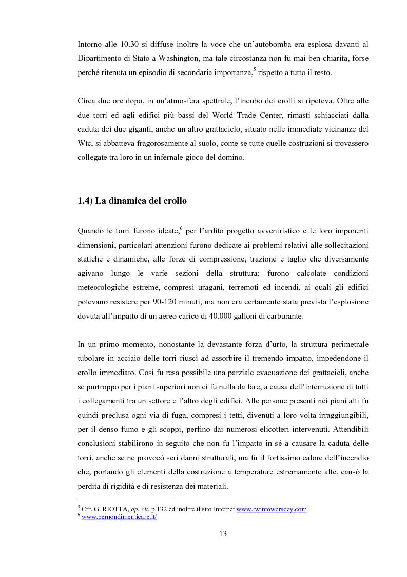 """Anteprima della tesi: 11 Settembre 2001 """"Per non dimenticare"""", Pagina 12"""
