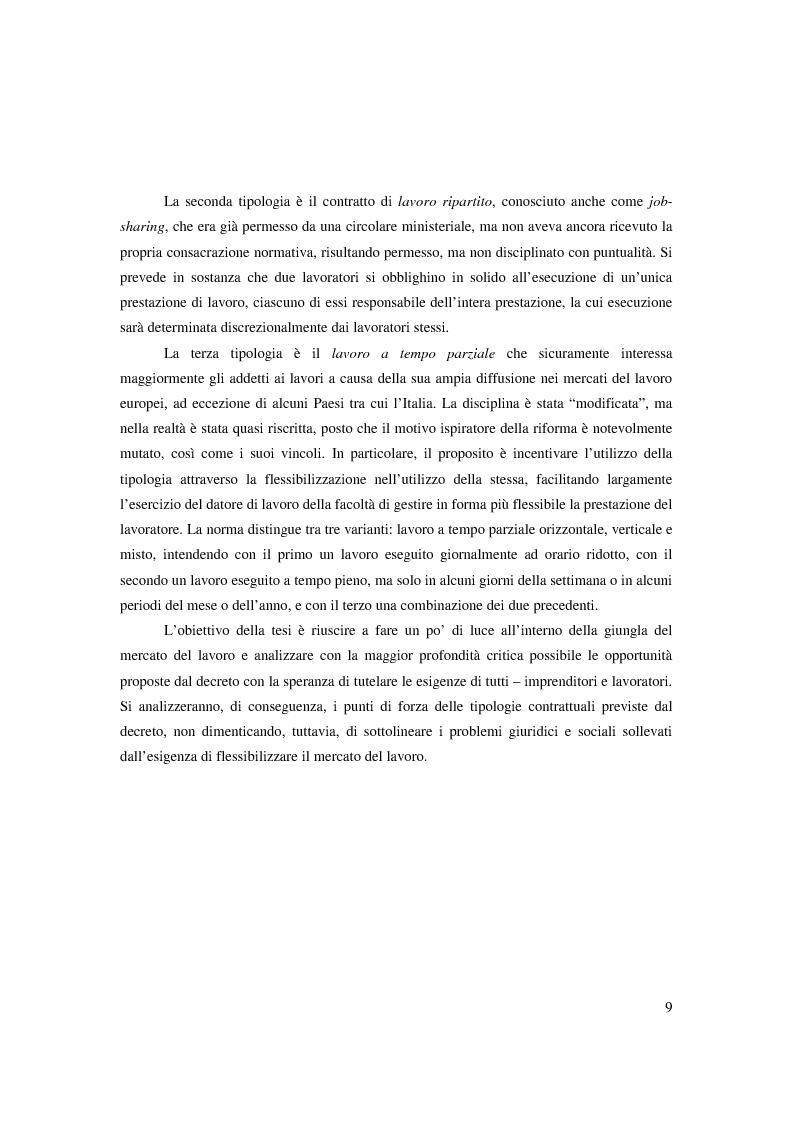 Anteprima della tesi: Riforma ''Biagi''. Titolo V. Tipologie contrattuali a orario ridotto, modulato o flessibile: lavoro intermittente, ripartito e a tempo parziale., Pagina 3